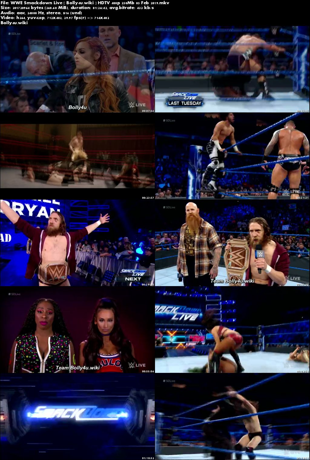 WWE Smackdown Live HDTV 480p 250Mb 05 Feb 2019 Download