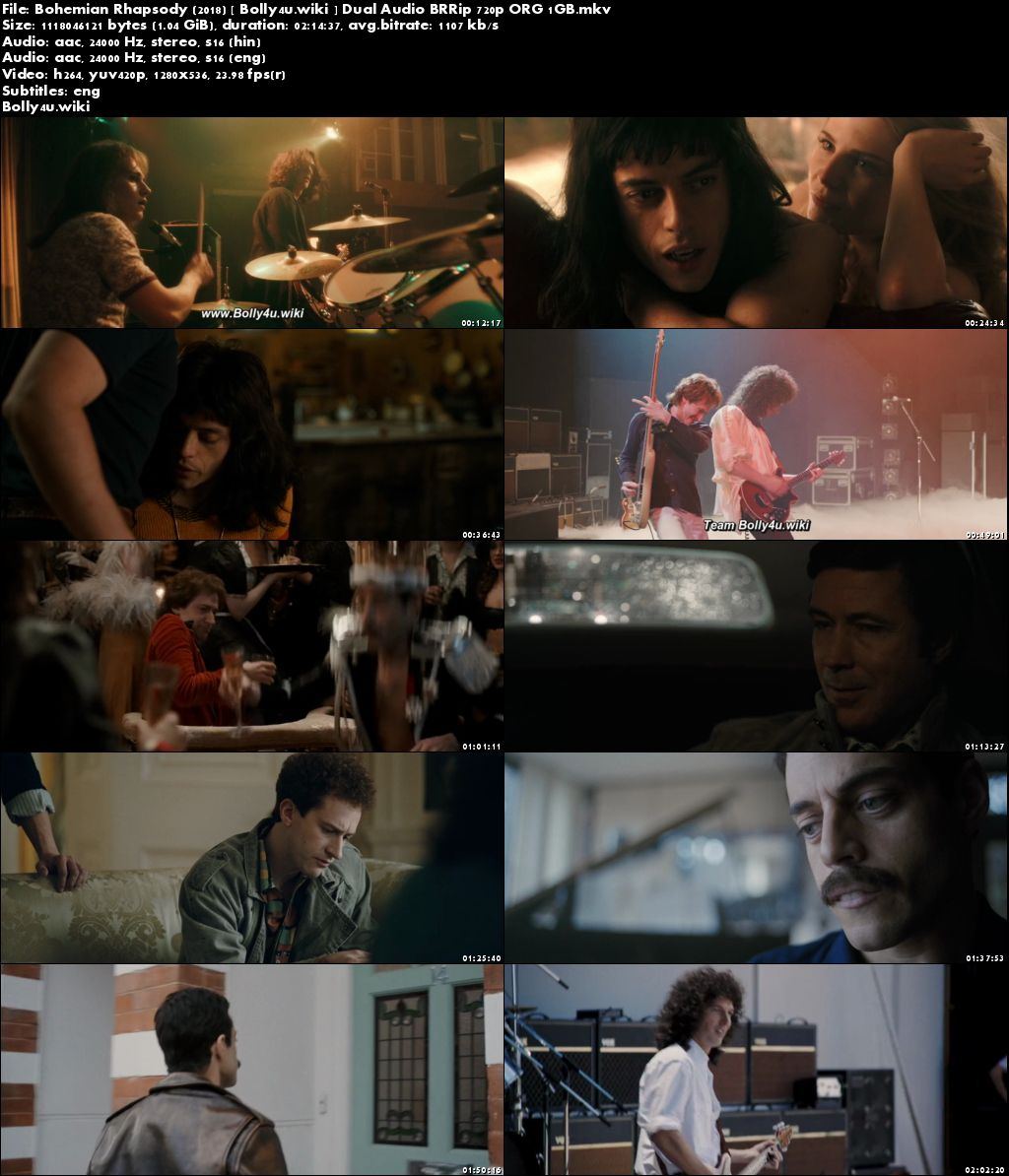 Bohemian Rhapsody 2018 BRRip 1GB Hindi Dual Audio ORG 720p ESub Download