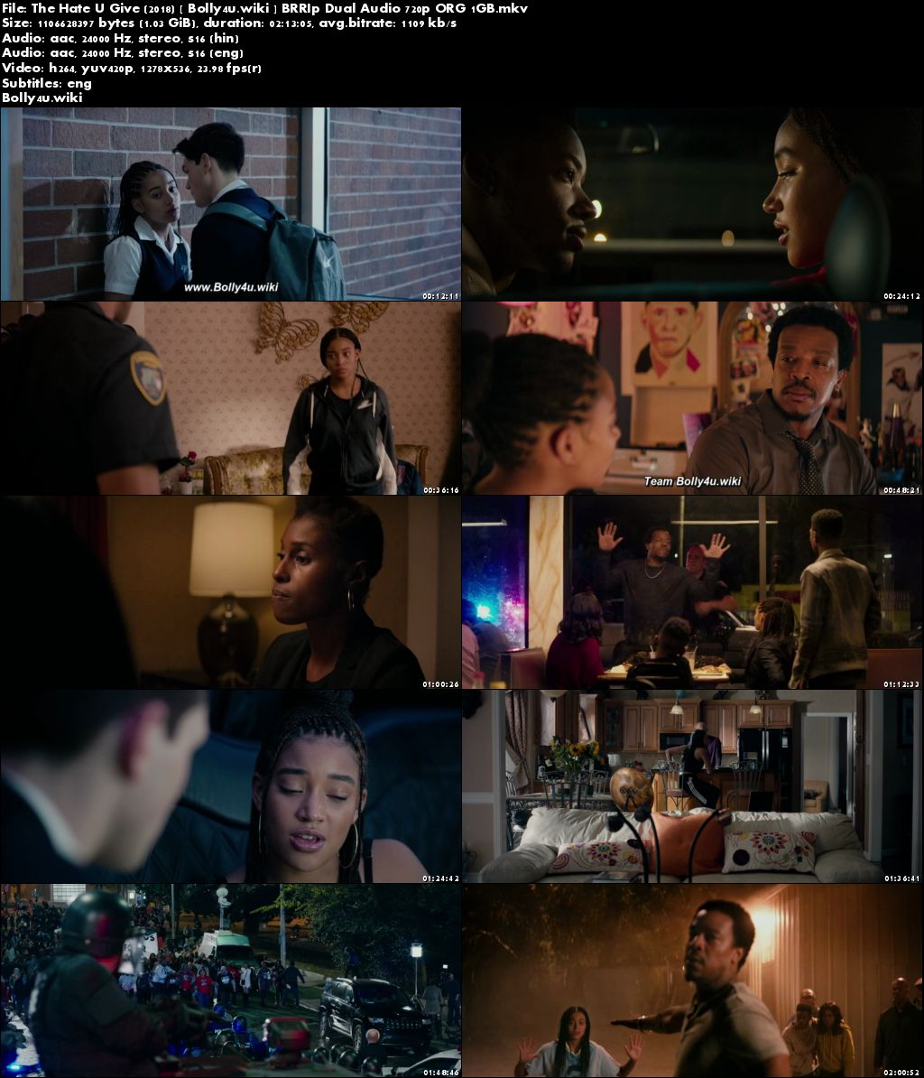 The Hate U Give 2018 BRRip 450MB Hindi Dual Audio ORG 480p ESub Download