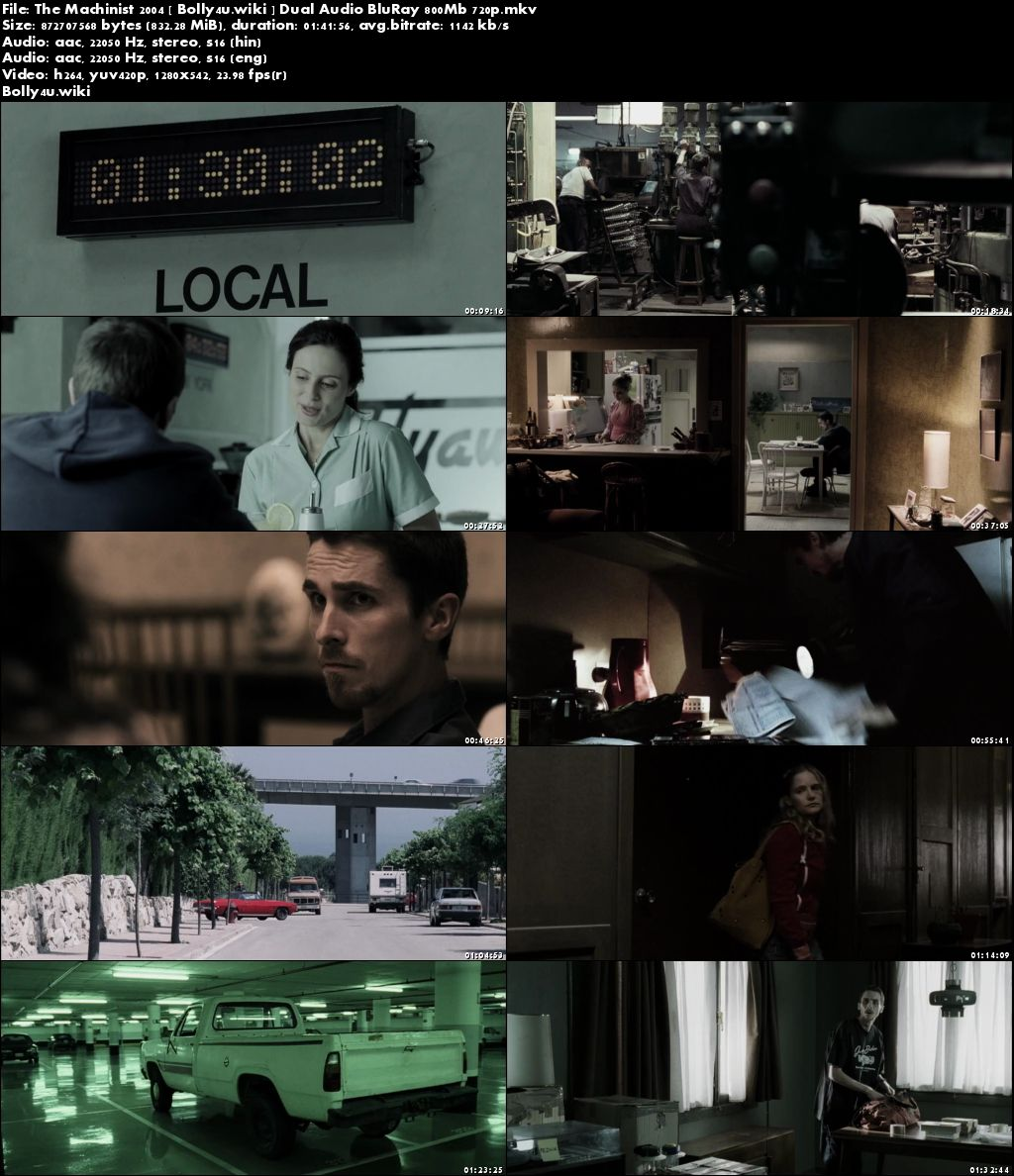 The Machinist 2004 BluRay 800Mb Hindi Dual Audio 720p Download
