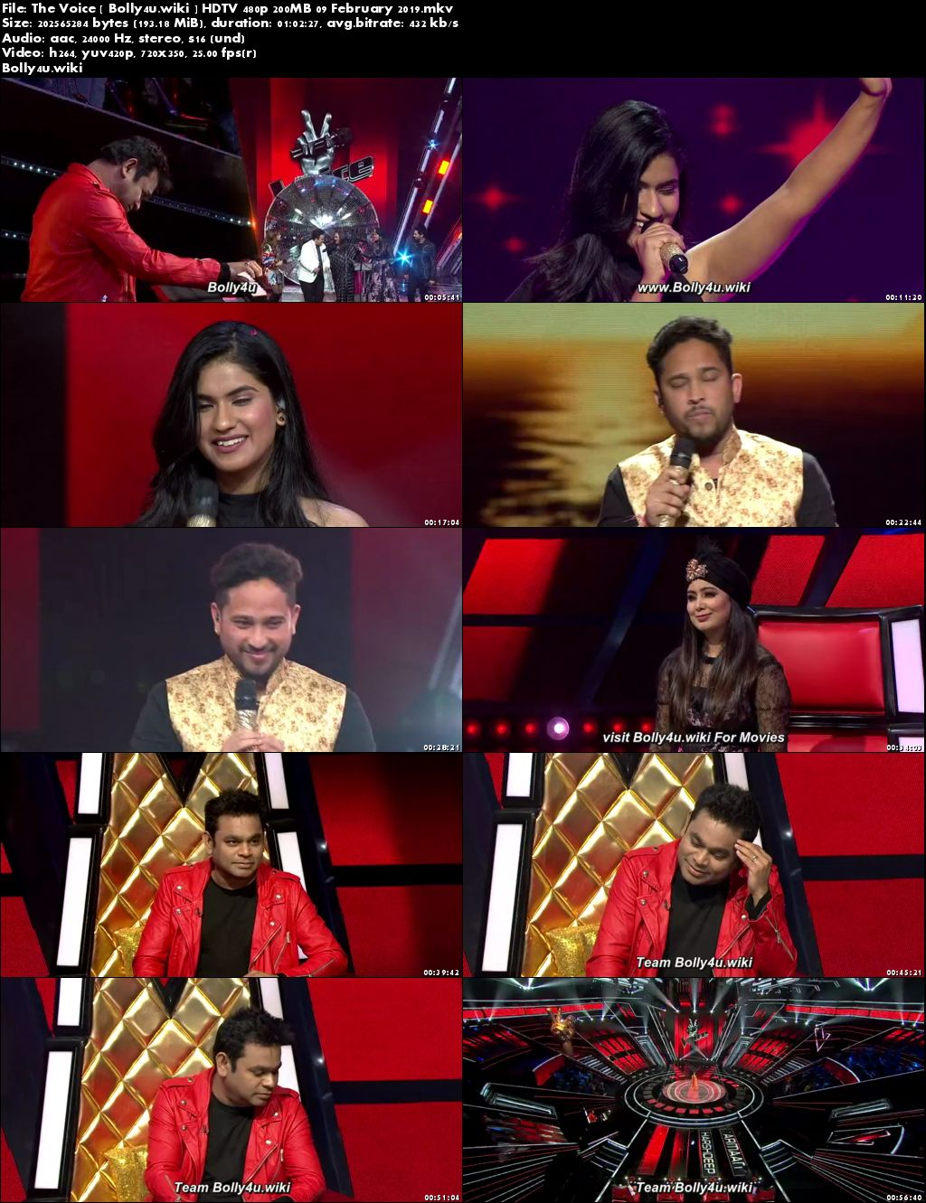 The Voice HDTV 480p 200MB 09 February 2019 Download