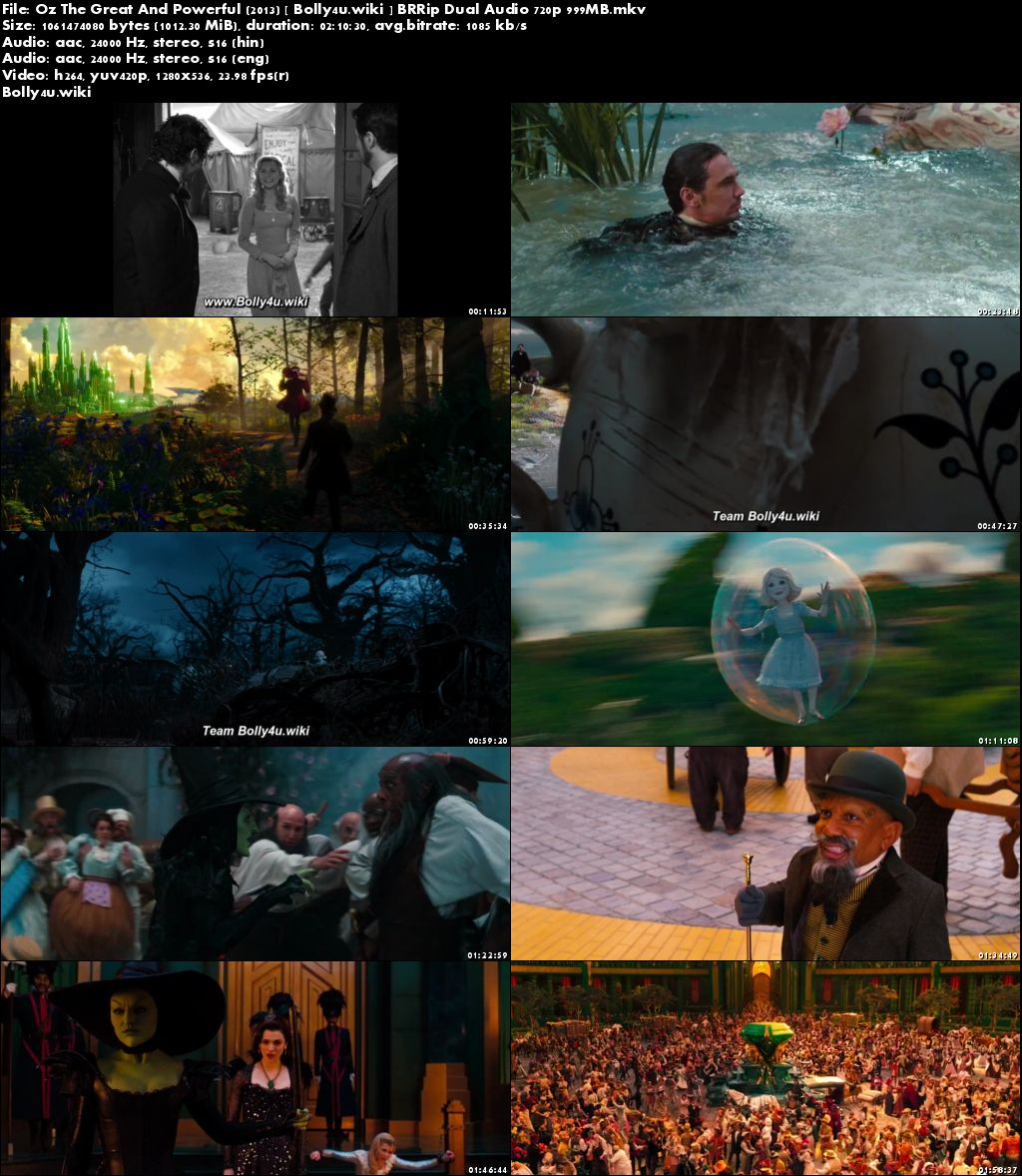 Oz The Great And Powerful 2013 BRRip 400MB Hindi Dual Audio 480p Download