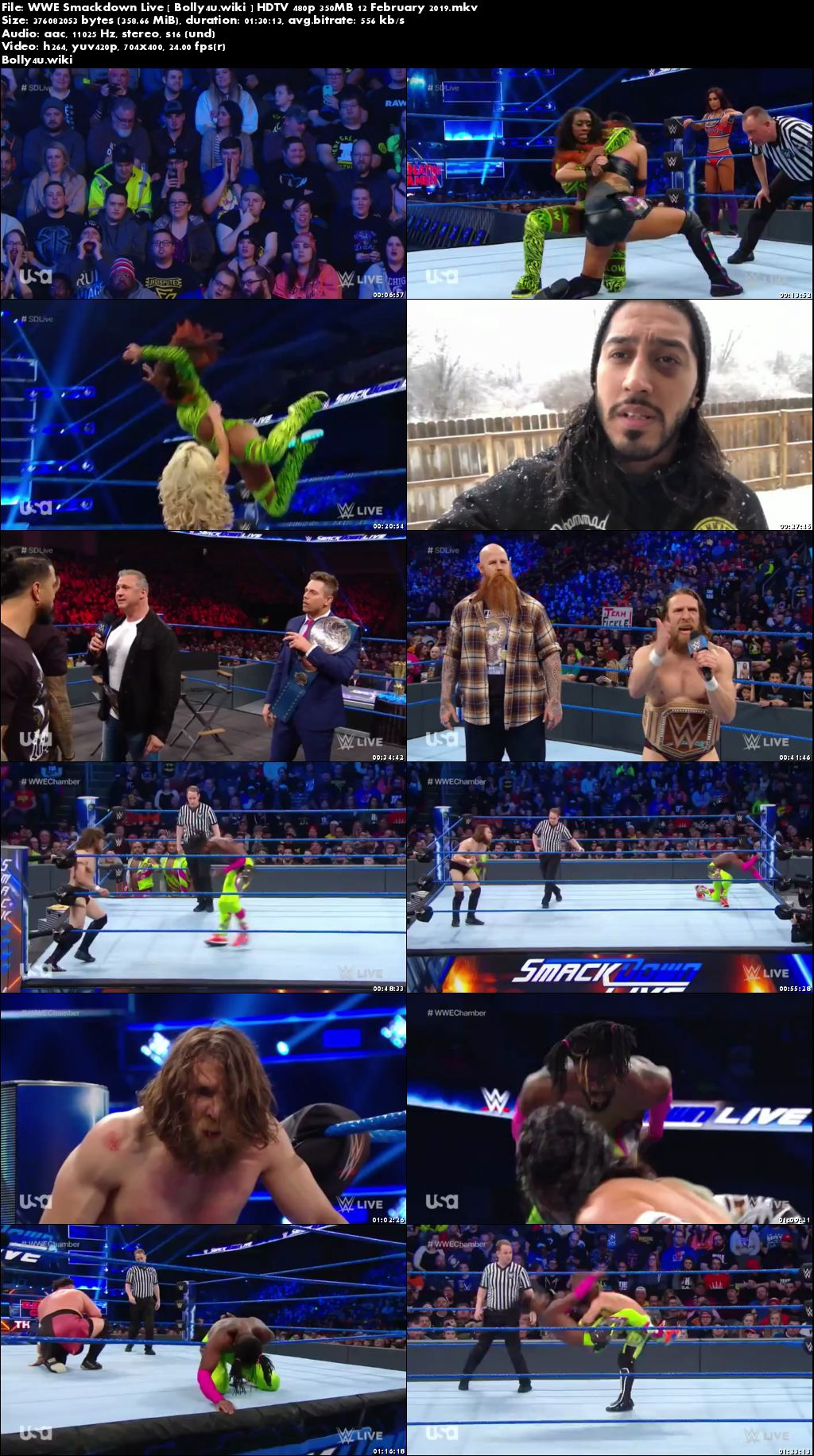 WWE Smackdown Live HDTV 480p 350MB 12 February 2019 Download
