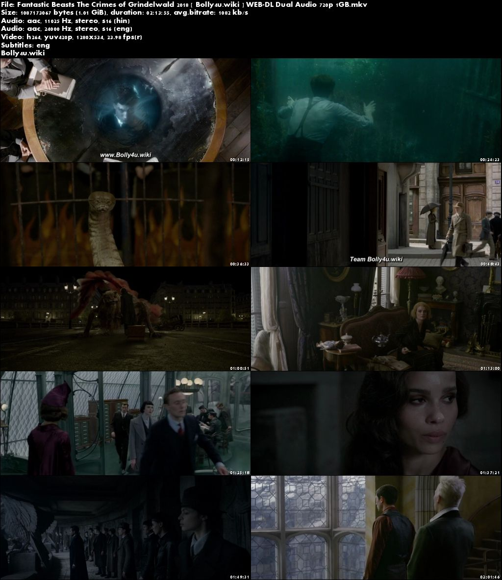Fantastic Beasts The Crimes of Grindelwald 2018 WEB-DL 400MB Hindi Dual Audio 480p Download