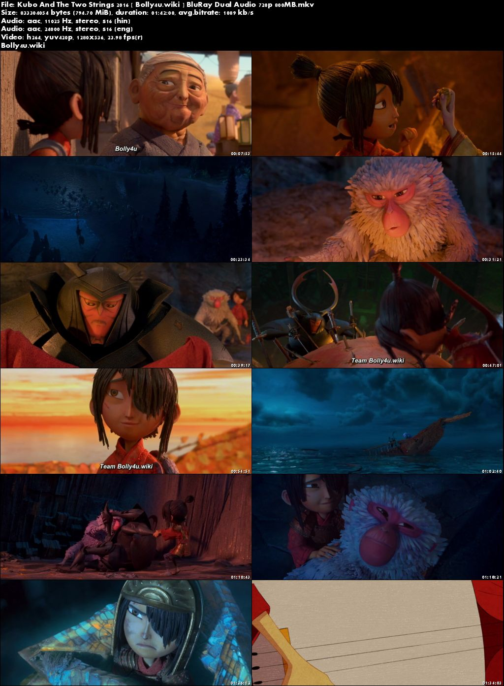Kubo And The Two Strings 2016 BluRay 300MB Dual Audio ORG 480p Download