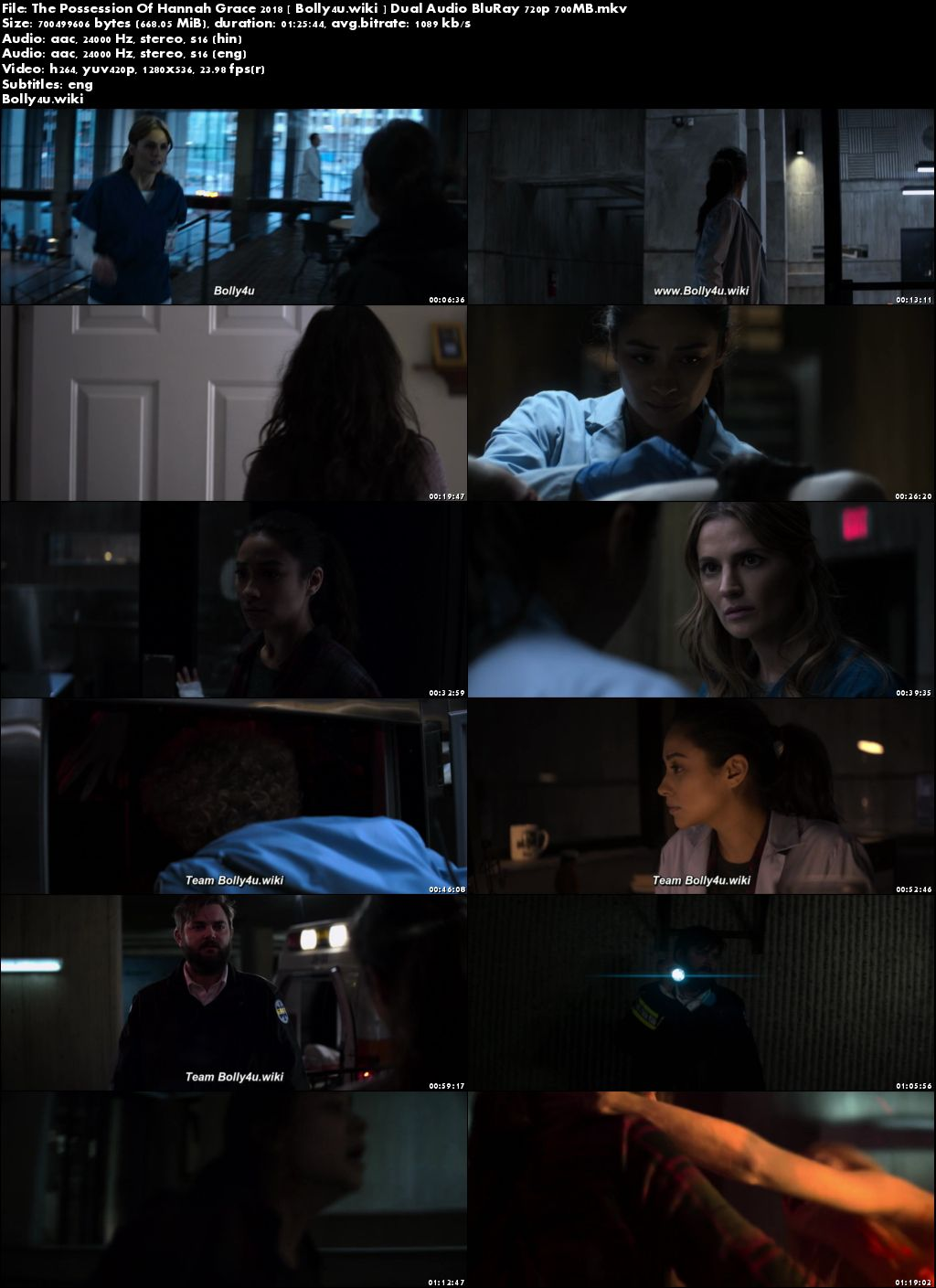 The Possession Of Hannah Grace 2018 BRRip 700MB Hindi Dual Audio ORG 720p Download