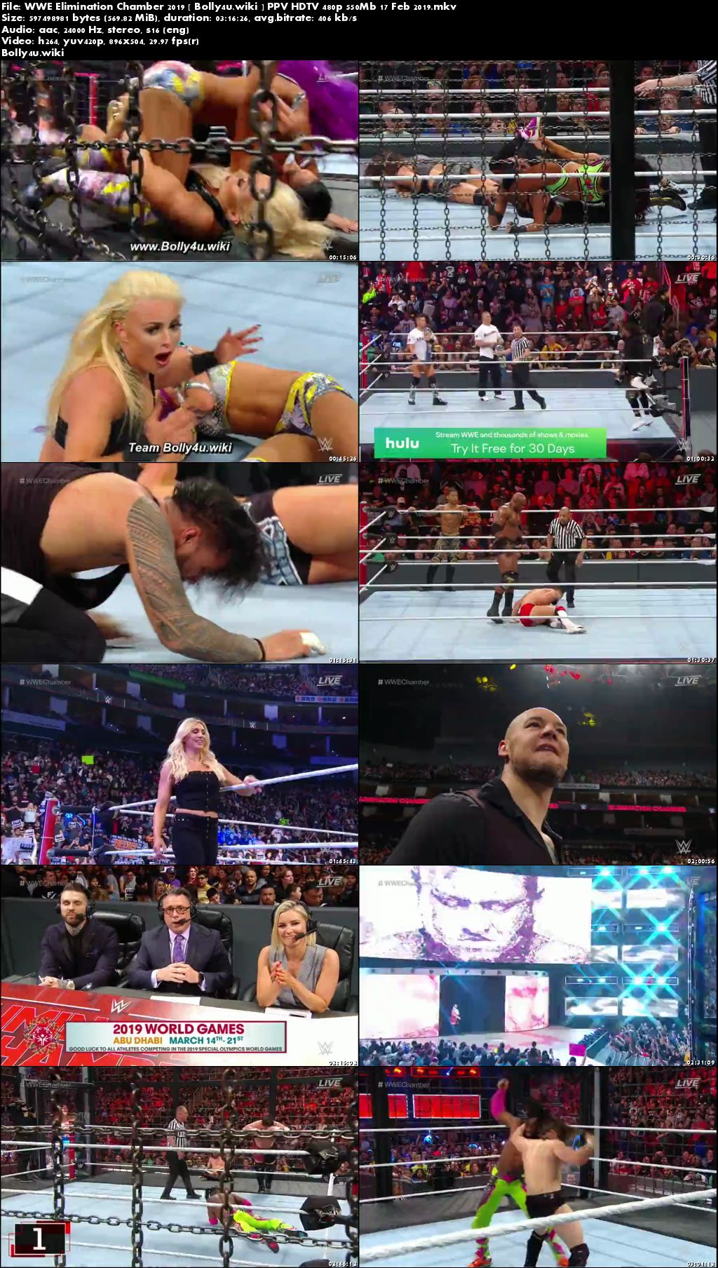 WWE Elimination Chamber 2019 PPV HDTV 480p 550Mb 17 Feb 2019 Download