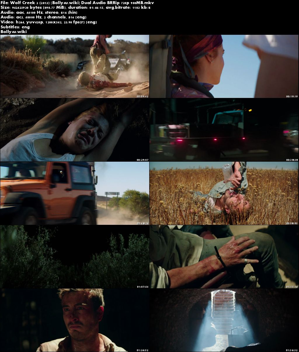 Wolf Creek 2 2013 BRRip 900MB Hindi Dual Audio 720p Download