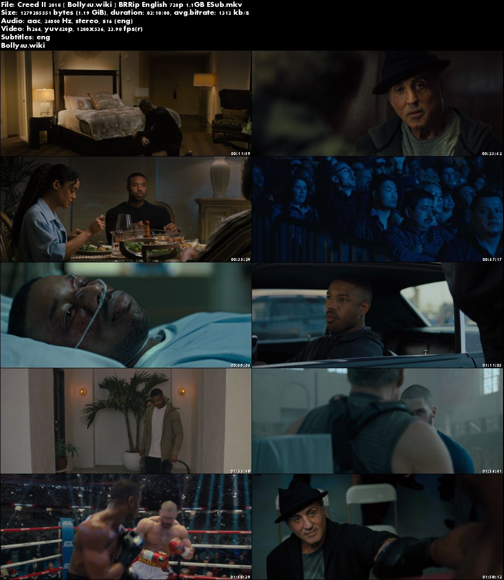 Creed II 2018 BRRip 400MB English 480p ESub Download