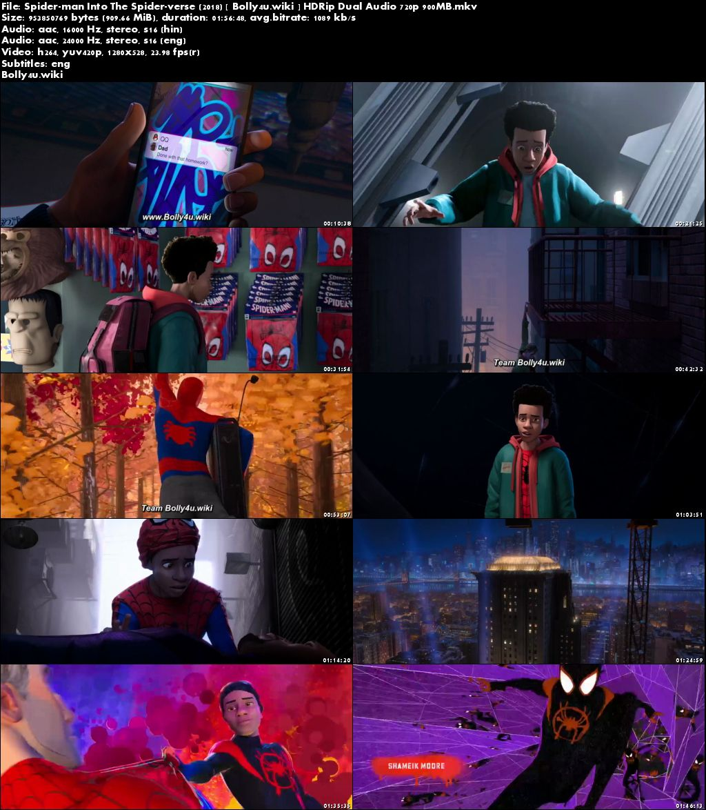 Spider-man Into The Spider-Verse 2018 HDRip 900MB Hindi Dual Audio 720p Download