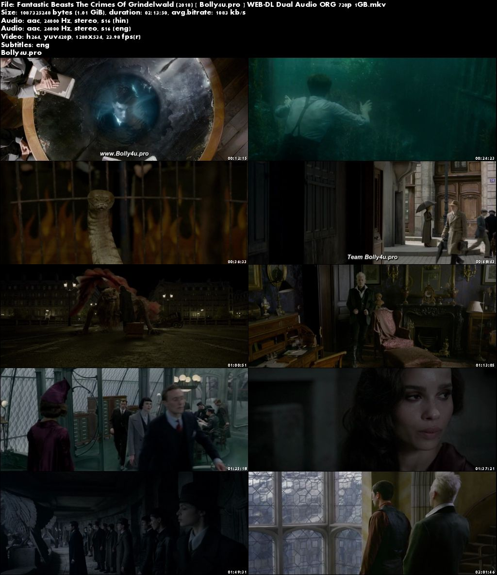 Fantastic Beasts The Crimes Of Grindelwald 2018 WEB-DL 400MB Hindi Dual Audio ORG 480p Download