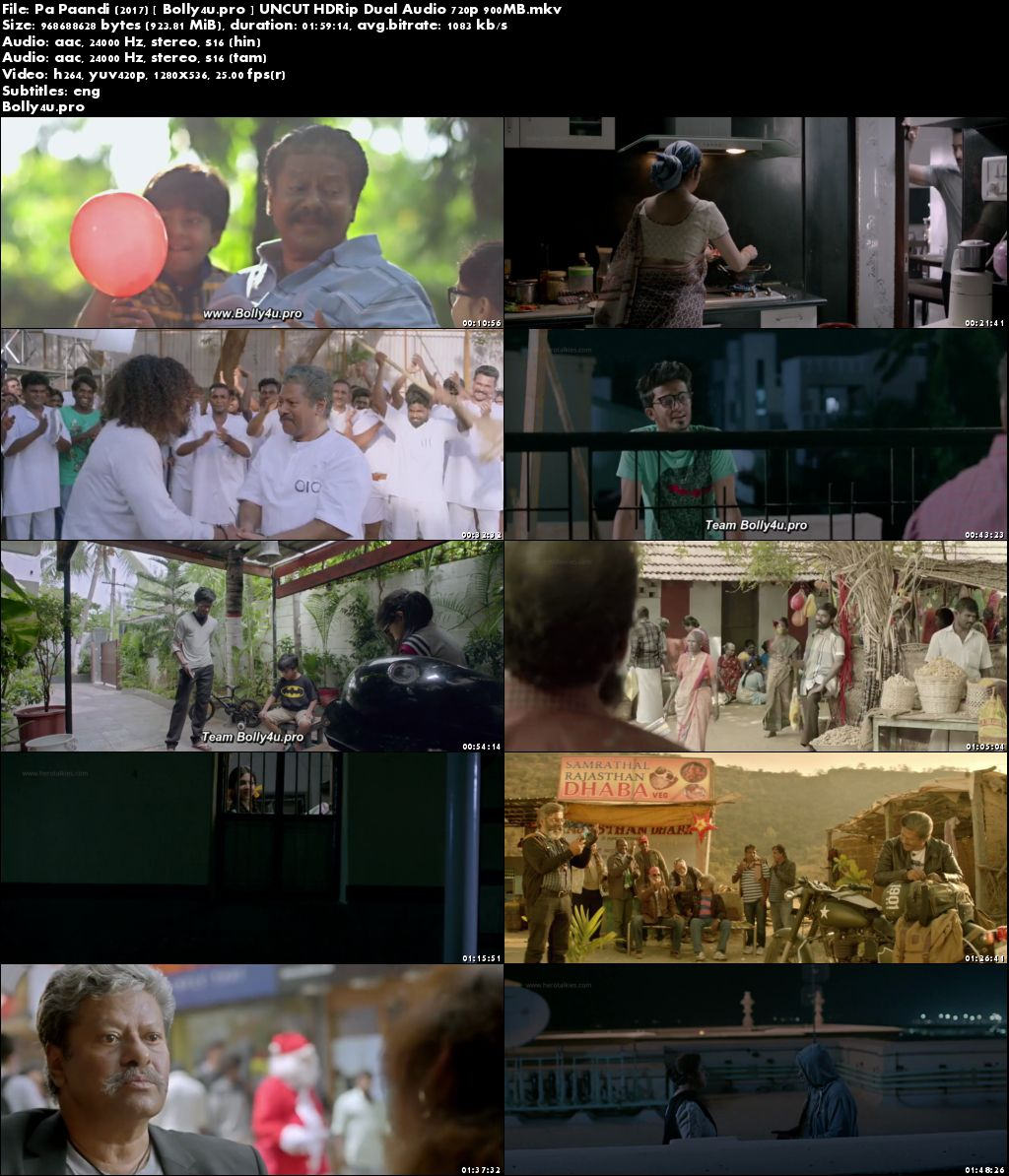 Pa Paandi 2017 HDRip 400MB UNCUT Hindi Dual Audio 480p Download