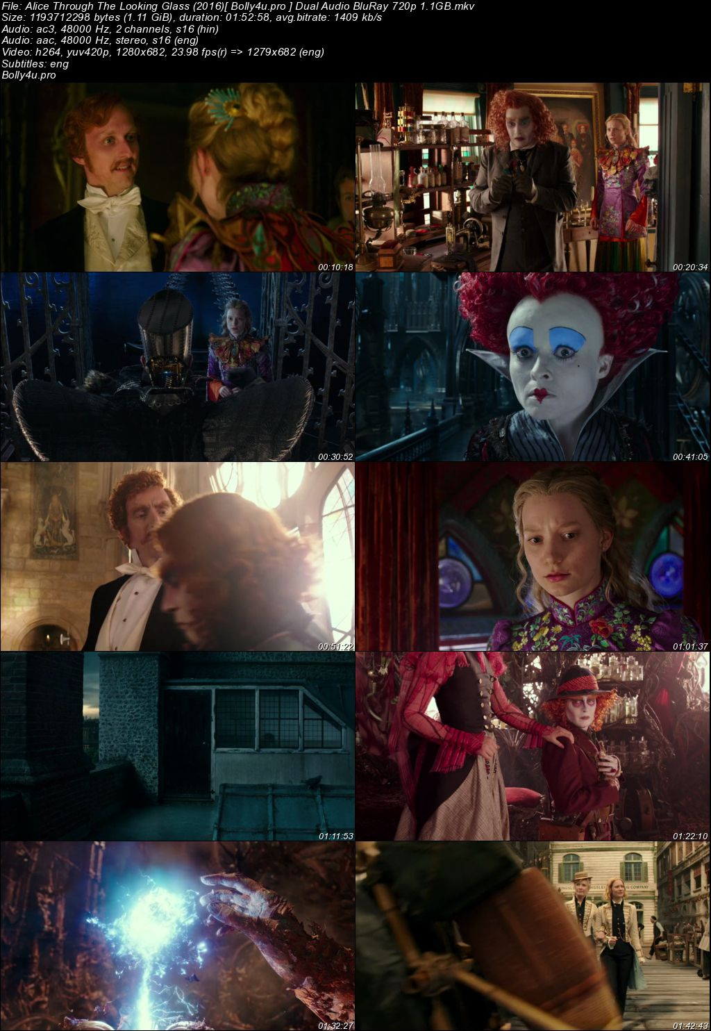 Alice Through The Looking Glass 2016 BRRip 300MB Hindi Dual Audio 480p ESub Download