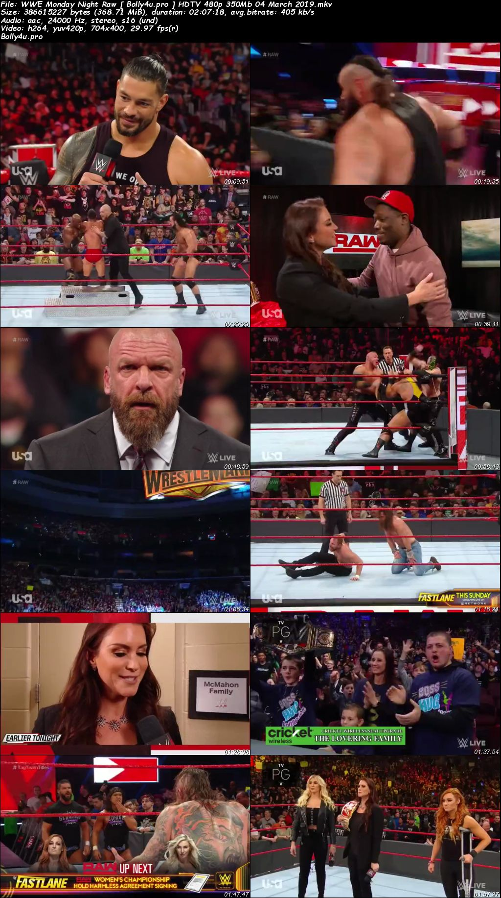 WWE Monday Night Raw HDTV 480p 350Mb 04 March 2019 Download