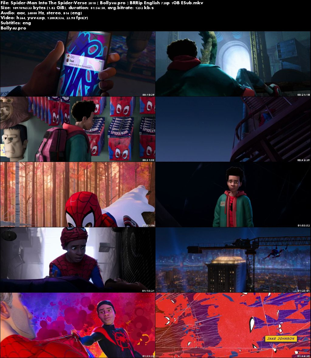 Spider-Man Into the Spider-Verse 2018 BRRip 1GB English 720p ESub Download