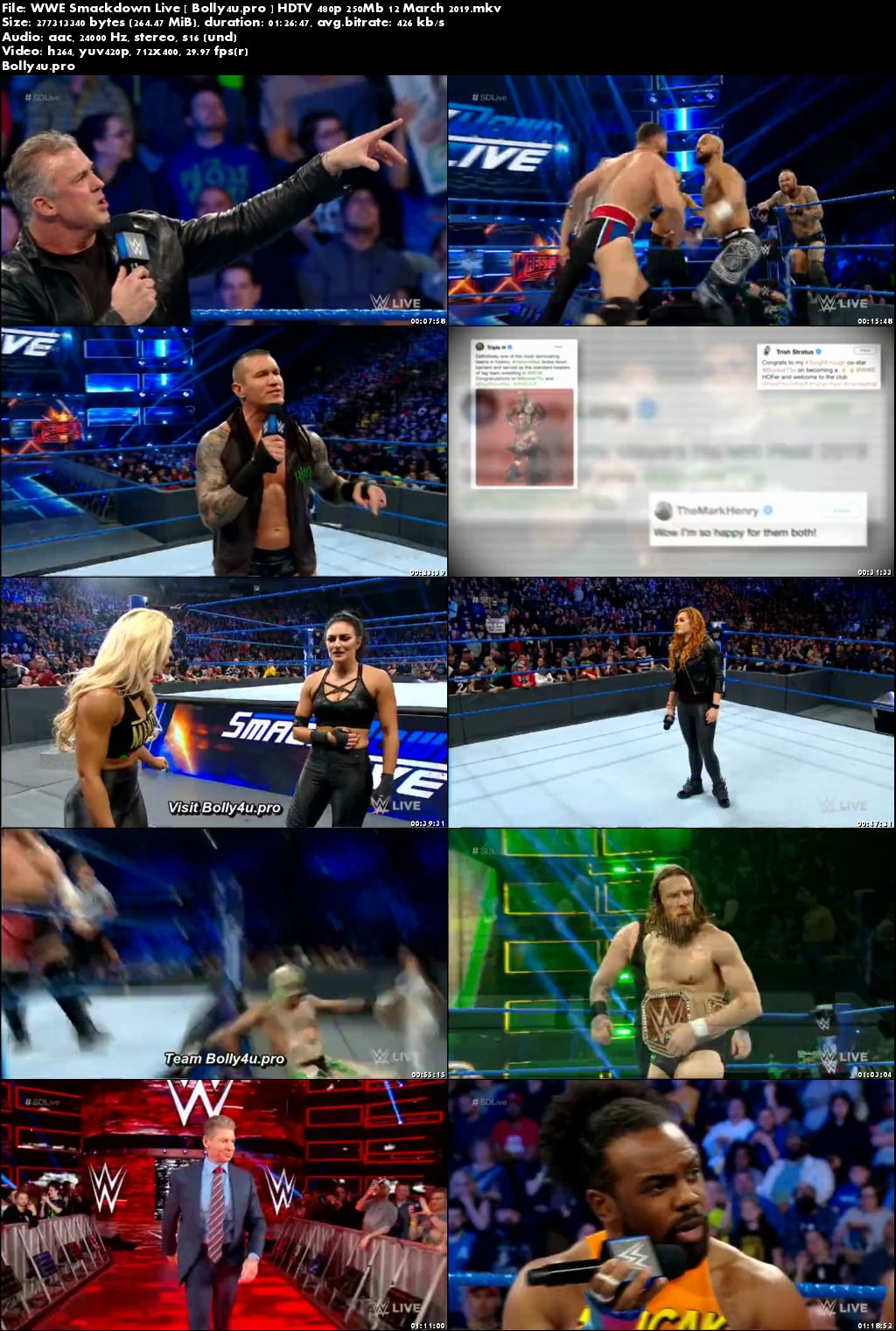 WWE Smackdown Live HDTV 480p 250Mb 12 March 2019 Download
