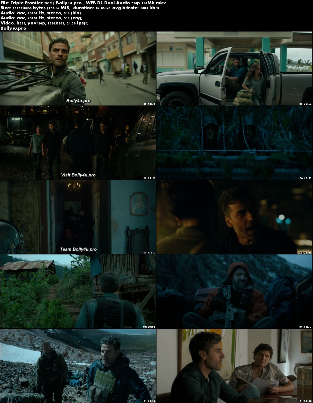 Triple Frontier 2019 WEB-DL 400Mb Hindi Dual Audio 480p Download