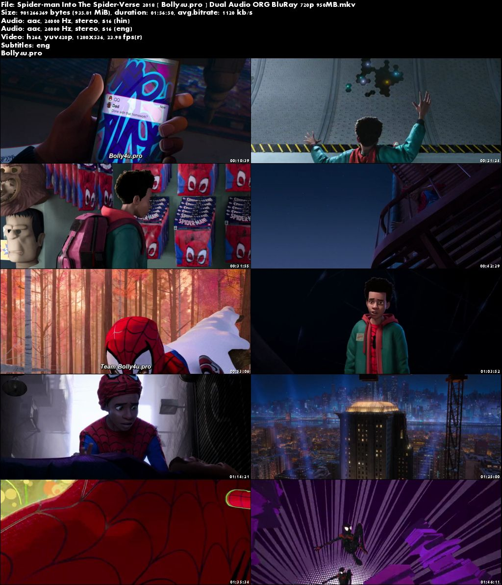 Spider-Man Into the Spider-Verse 2018 BRRip 400MB Hindi Dual Audio ORG 480p Download