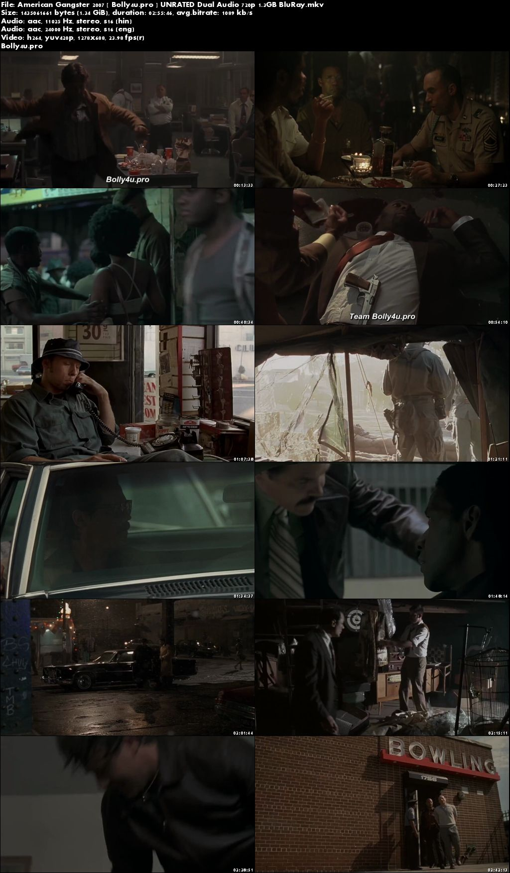 American Gangster 2007 BRRip UNRATED Hindi Dual Audio 720p Download