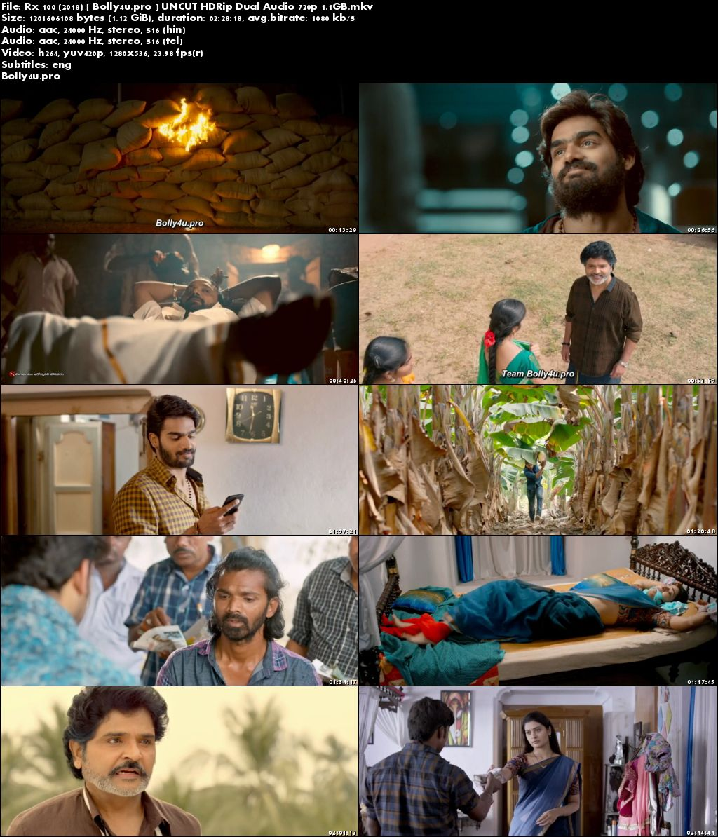 RX 100 2018 HDRip 450MB UNCUT Hindi Dual Audio 480p ESub Download