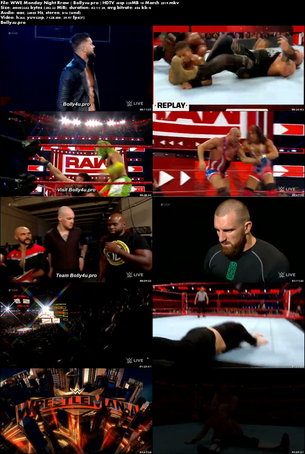 WWE Monday Night Rraw HDTV 480p 350MB 18 March 2019 Download