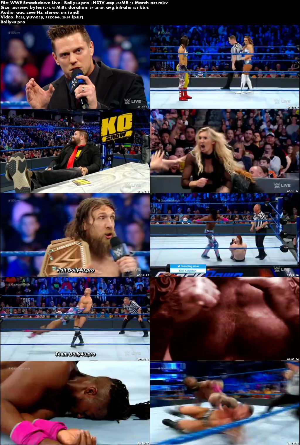 WWE Smackdown Live HDTV 480p 250MB 19 March 2019 Download
