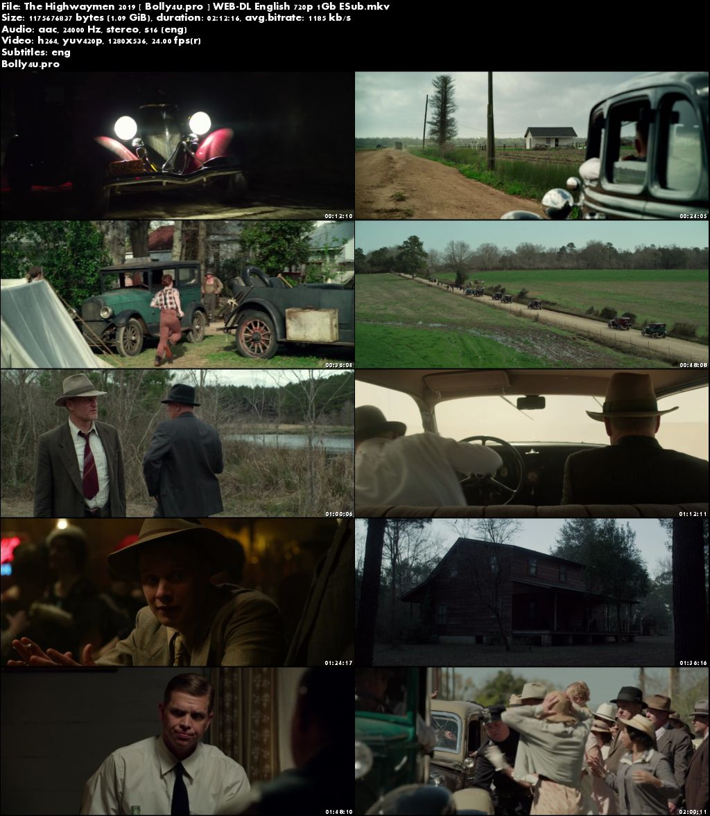 The Highwaymen 2019 WEB-DL 1GB English 720p ESub Download