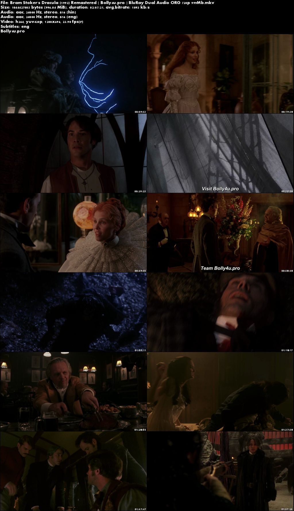 Bram Stokers Dracula 1992 BRRip 999MB Hindi Dual Audio ORG 720p Download