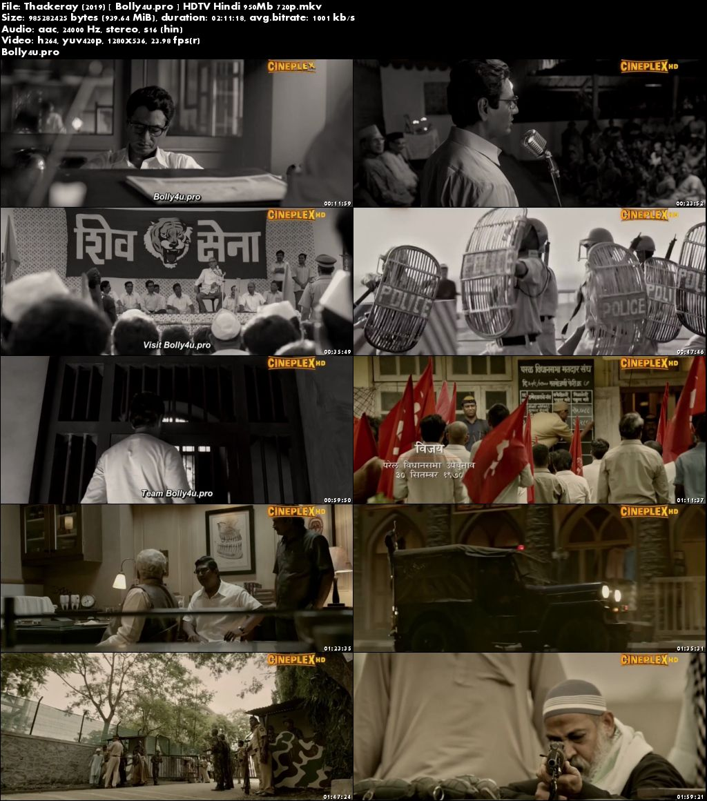 Thackeray 2019 HDTV 350Mb Full Hindi Movie Download 480p