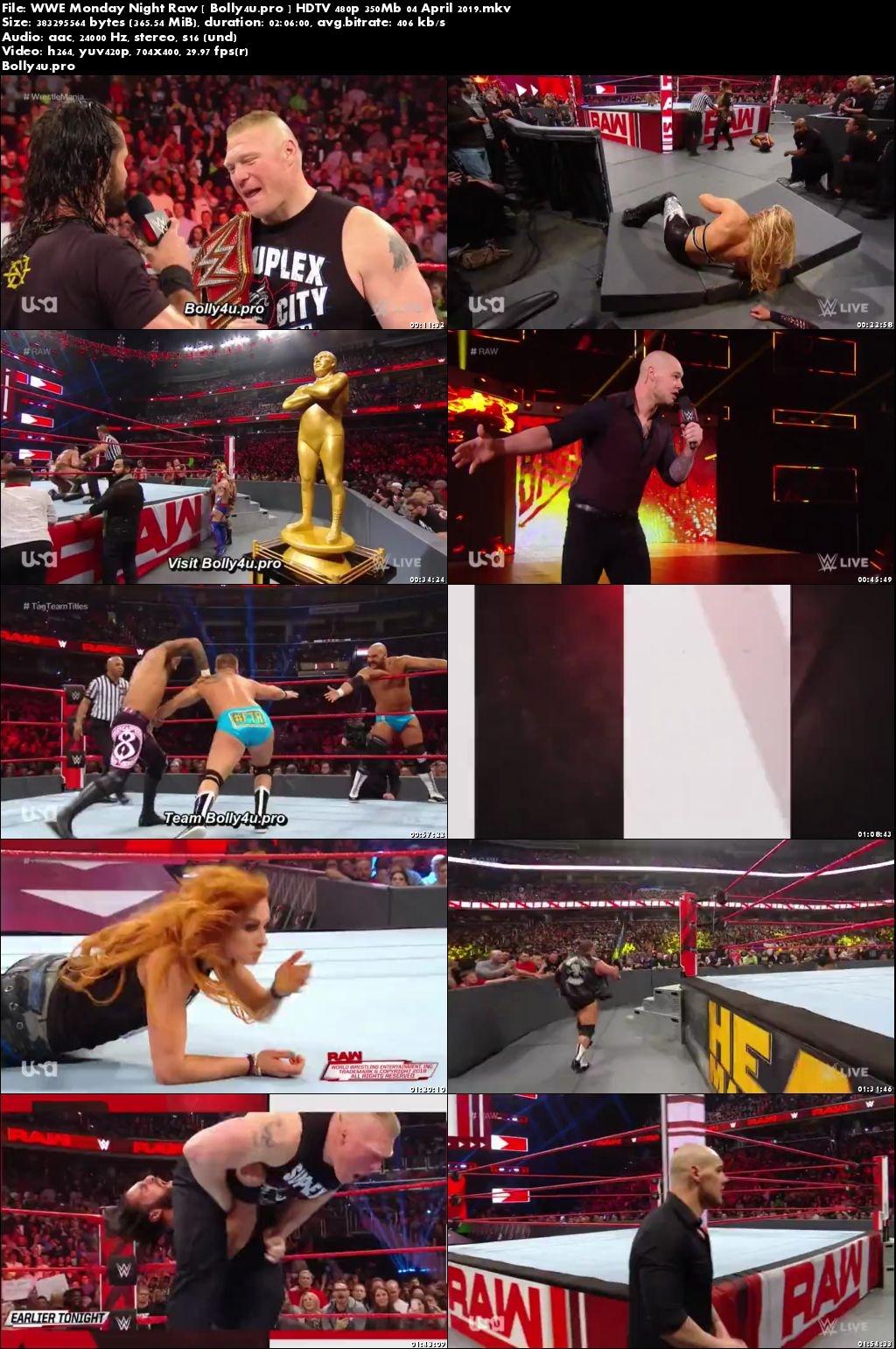 WWE Monday Night Raw HDTV 480p 350Mb 01 April 2019 Download