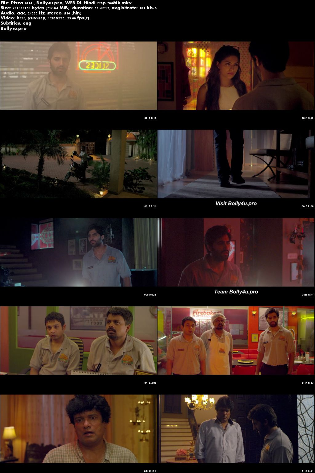 Pizza 2014 WEB-DL 700MB Hindi 720p ESub Download