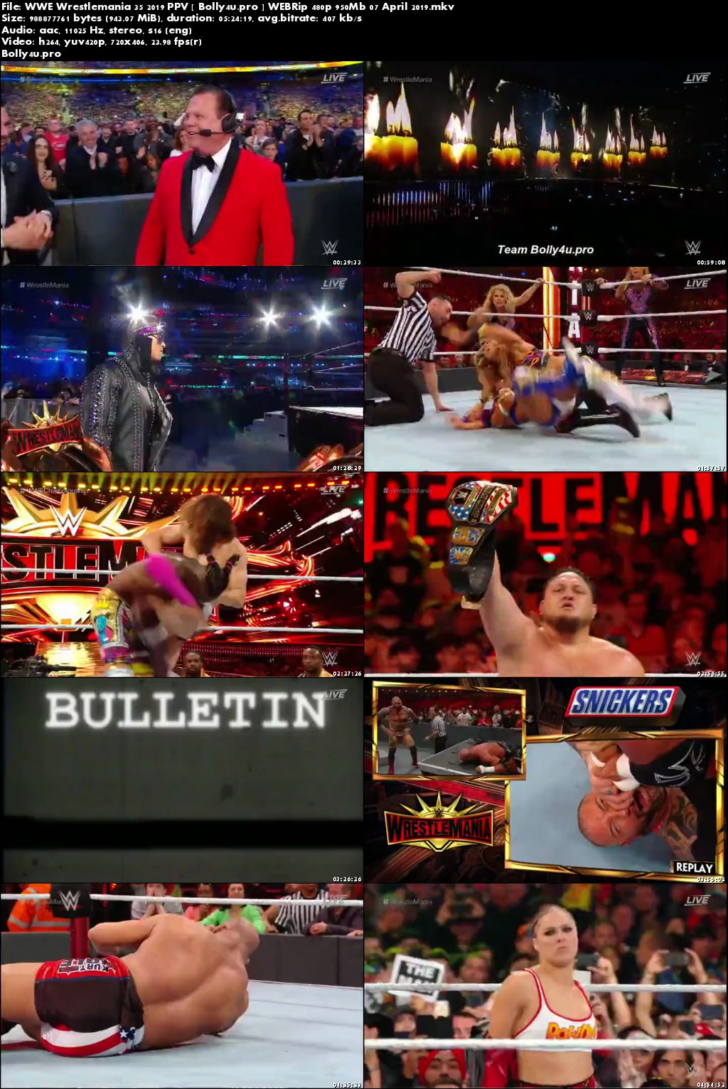 WWE Wrestlemania 35 2019 PPV WEBRip 480p 950Mb Full Show x264 Download