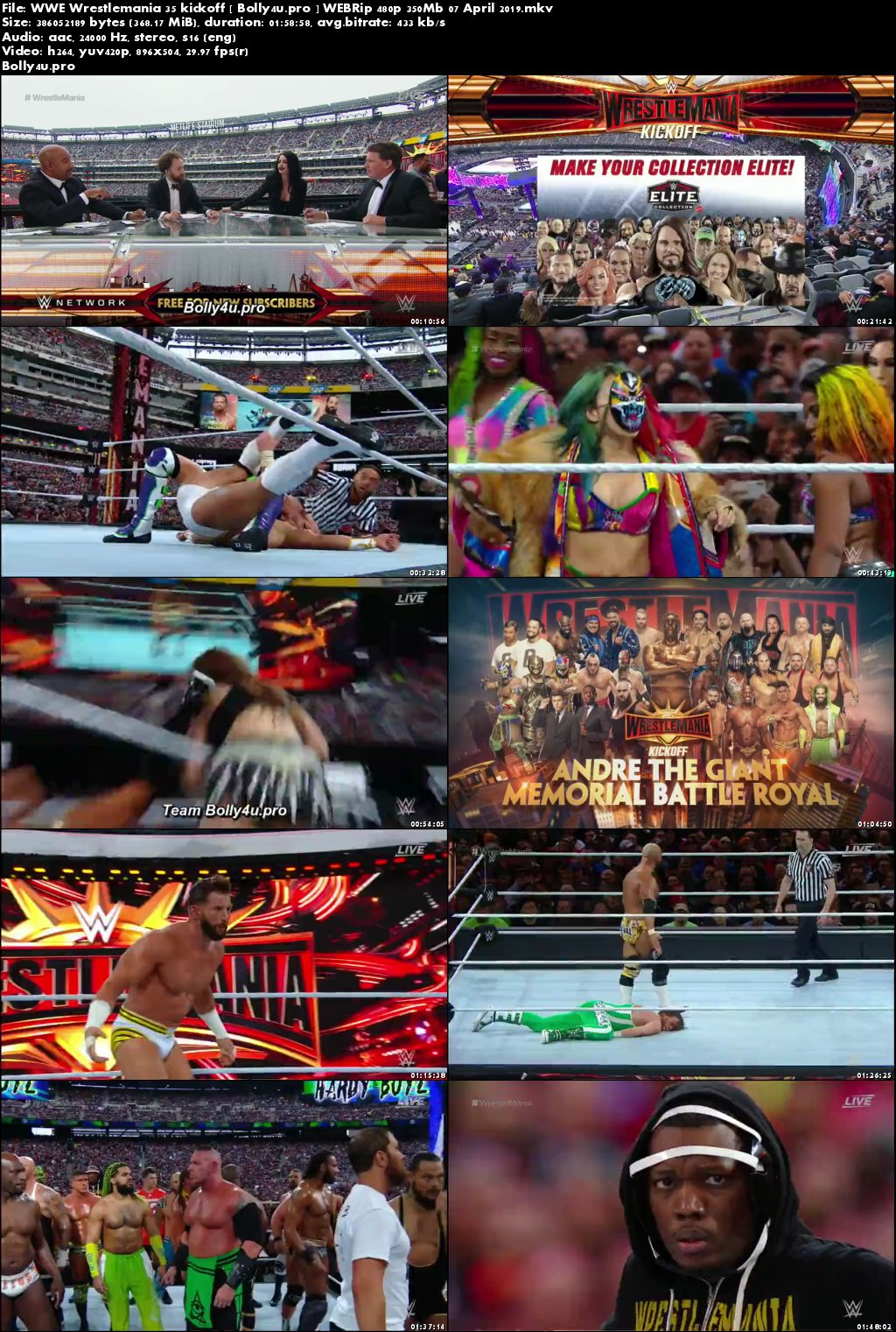 WWE Wrestlemania 35 Kickoff WEBRip 480p 350Mb 07 April 2019 Download