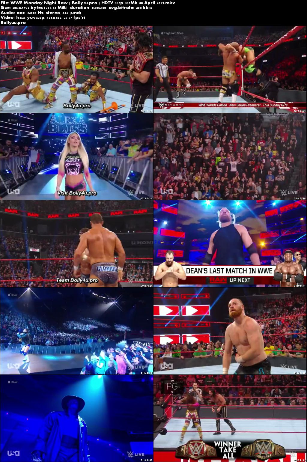 WWE Monday Night Raw HDTV 480p 350Mb 08 April 2019 Download