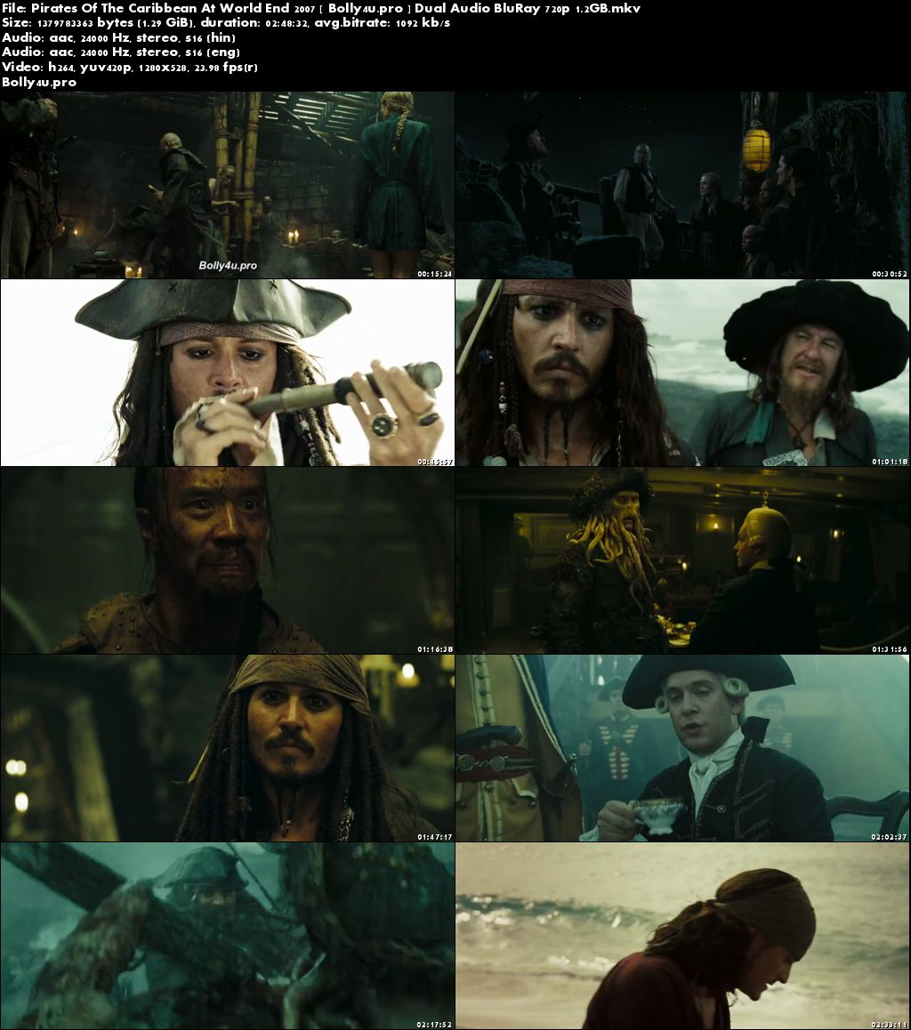 Pirates Of The Caribbean at Worlds End 2007 BRRip 500MB Hindi Dual Audio 480p Download