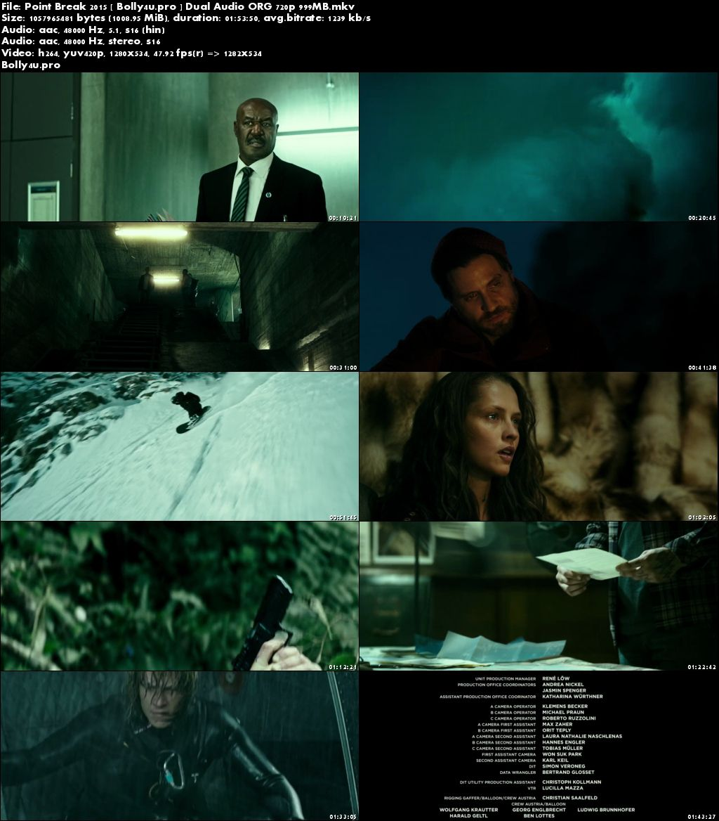 Point Break 2015 BluRay 999Mb Hindi Dual Audio ORG 720p Download