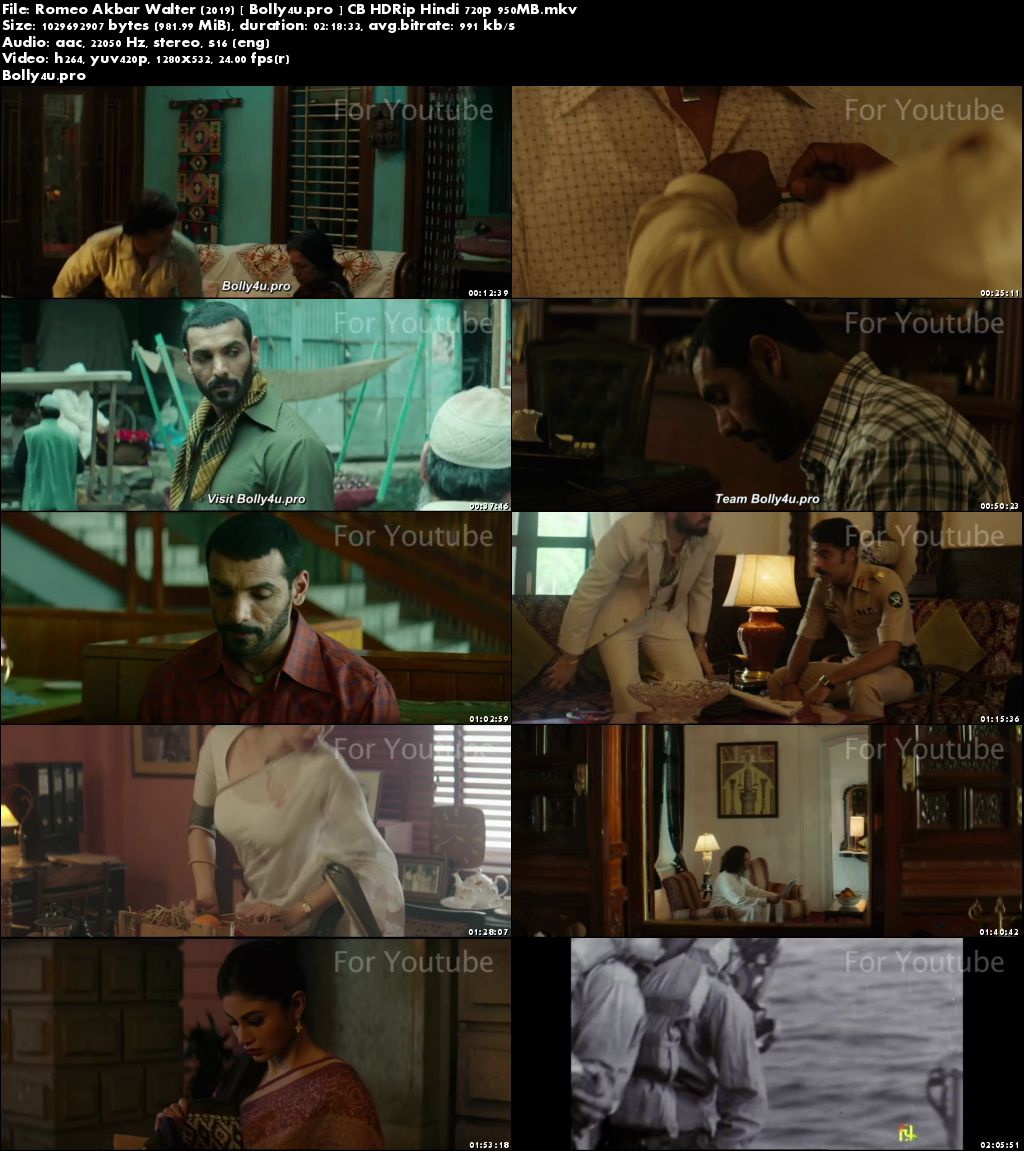 Romeo Akbar Walter 2019 CB HDRip 950Mb Full Hindi Movie Download 720p