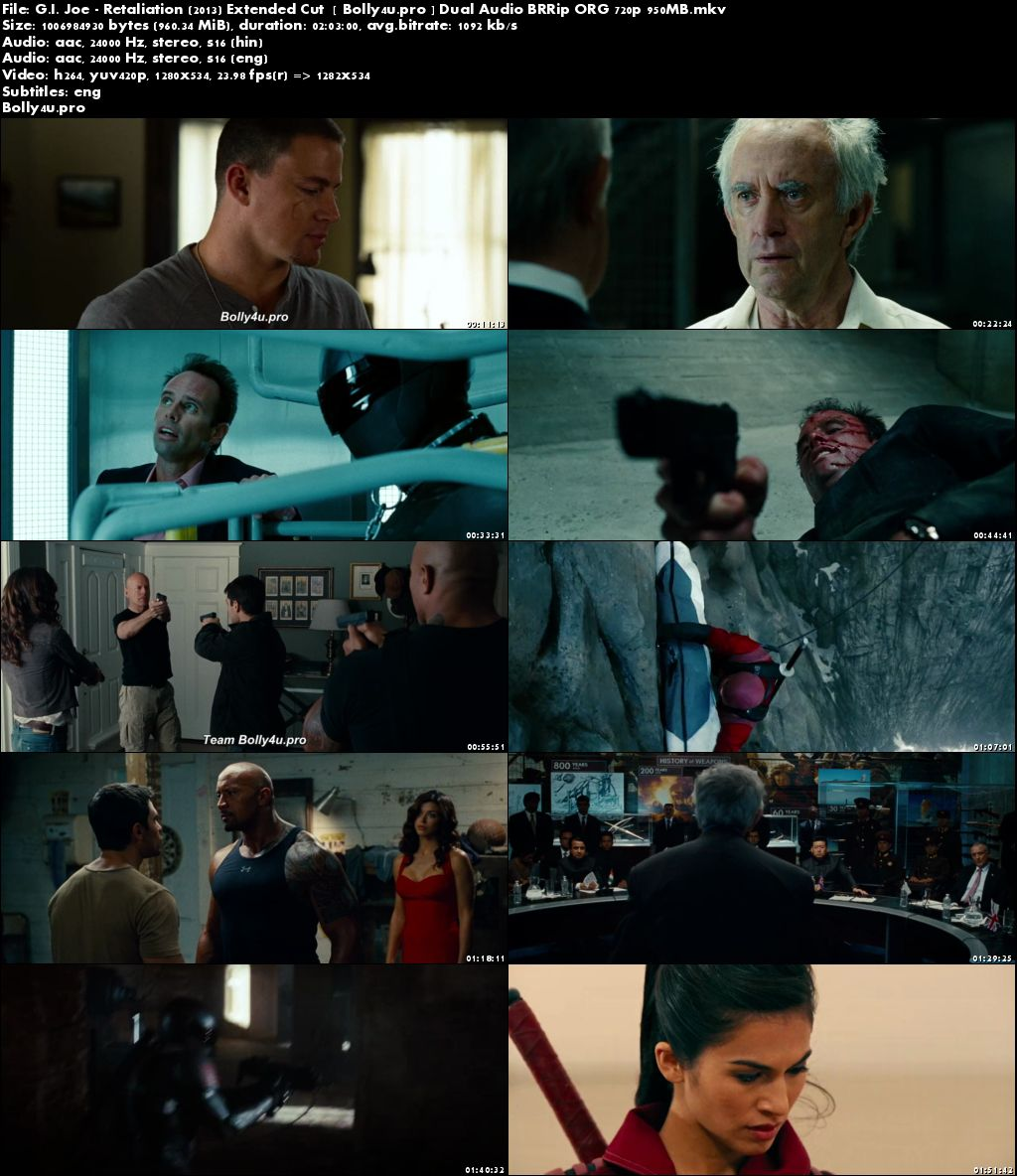 G I Joe Retaliation 2013 Extended Cut BRRip 950MB Hindi Dual Audio ORG 720p Download