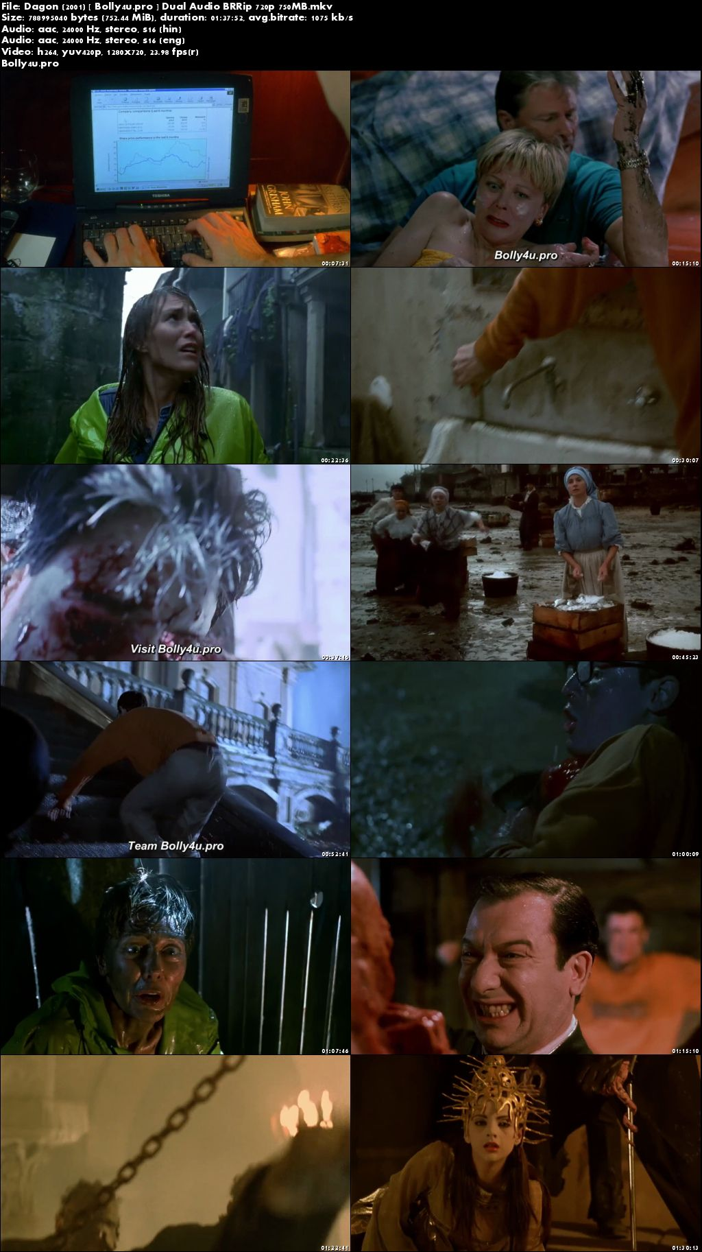 Dagon 2001 BRRip 750Mb Hindi Dual Audio 720p ESub Download