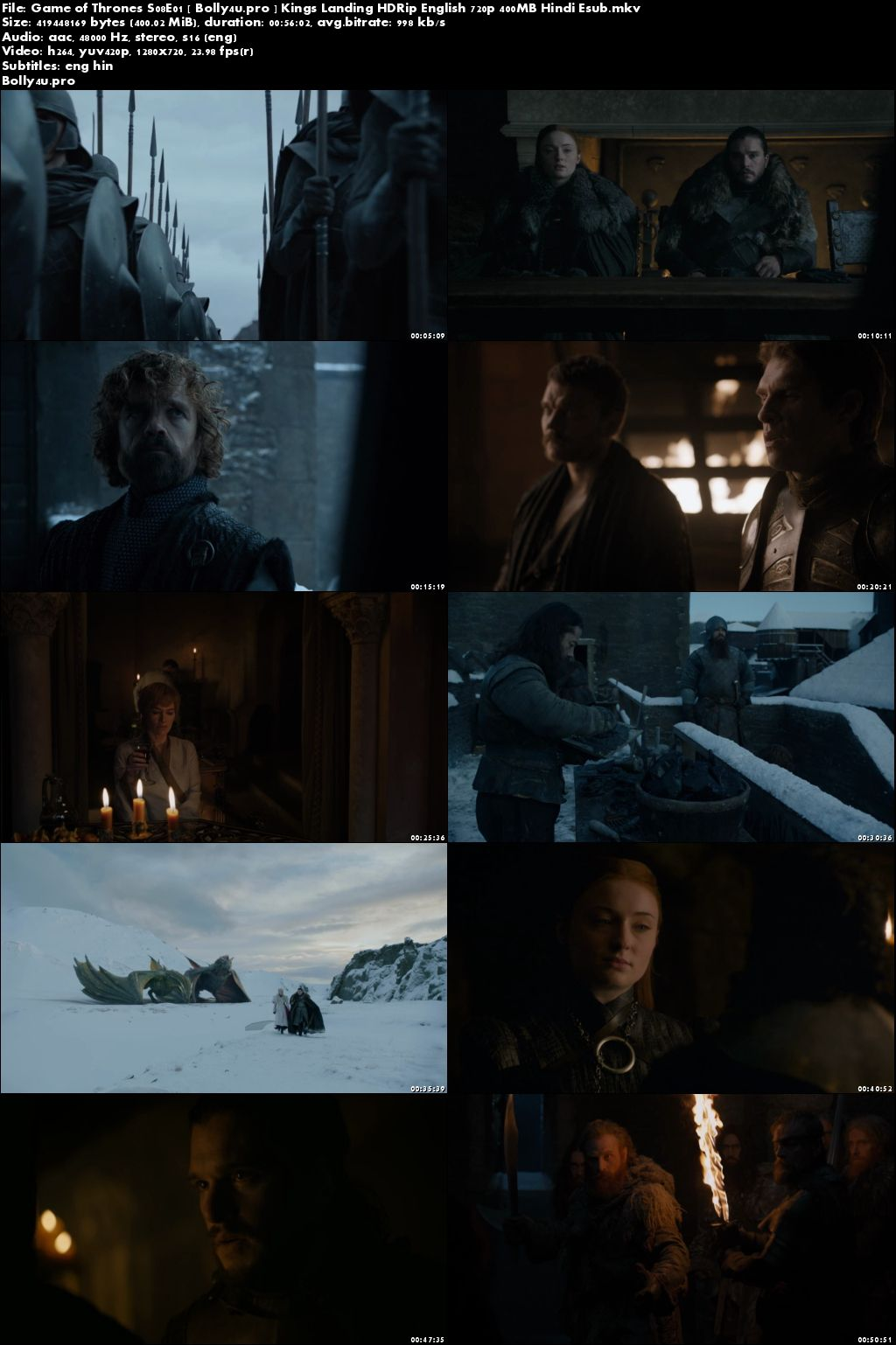 Game of Thrones S08E01 Kings Landing WEB-DL 400MB English 720p Hindi ESub Download