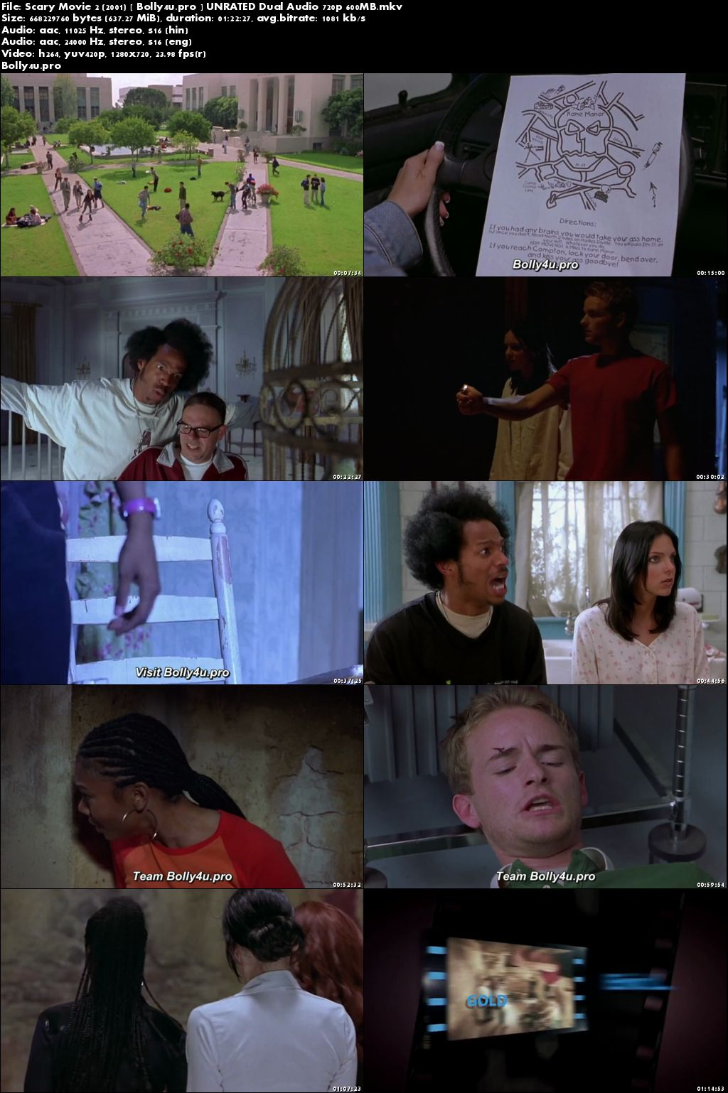 Scary Movie 2 2001 BRRip 600MB UNRATED Hindi Dual Audio 720p download