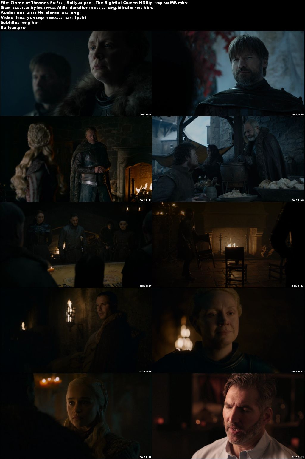 Game of Thrones S08E02 WEB-DL 500MB English 720p Hindi Sub Download