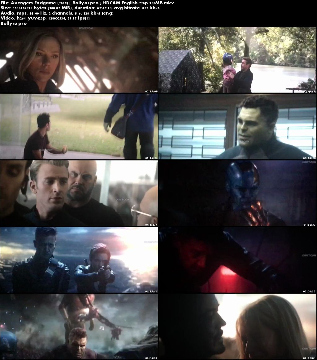 Avengers Endgame 2019 HDCAM 950MB English 720p Watch Online Download