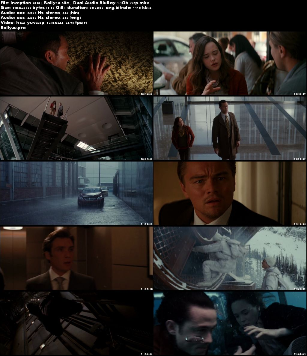 Inception 2010 BluRay 1.1Gb Hindi Dual Audio 720p Free Download