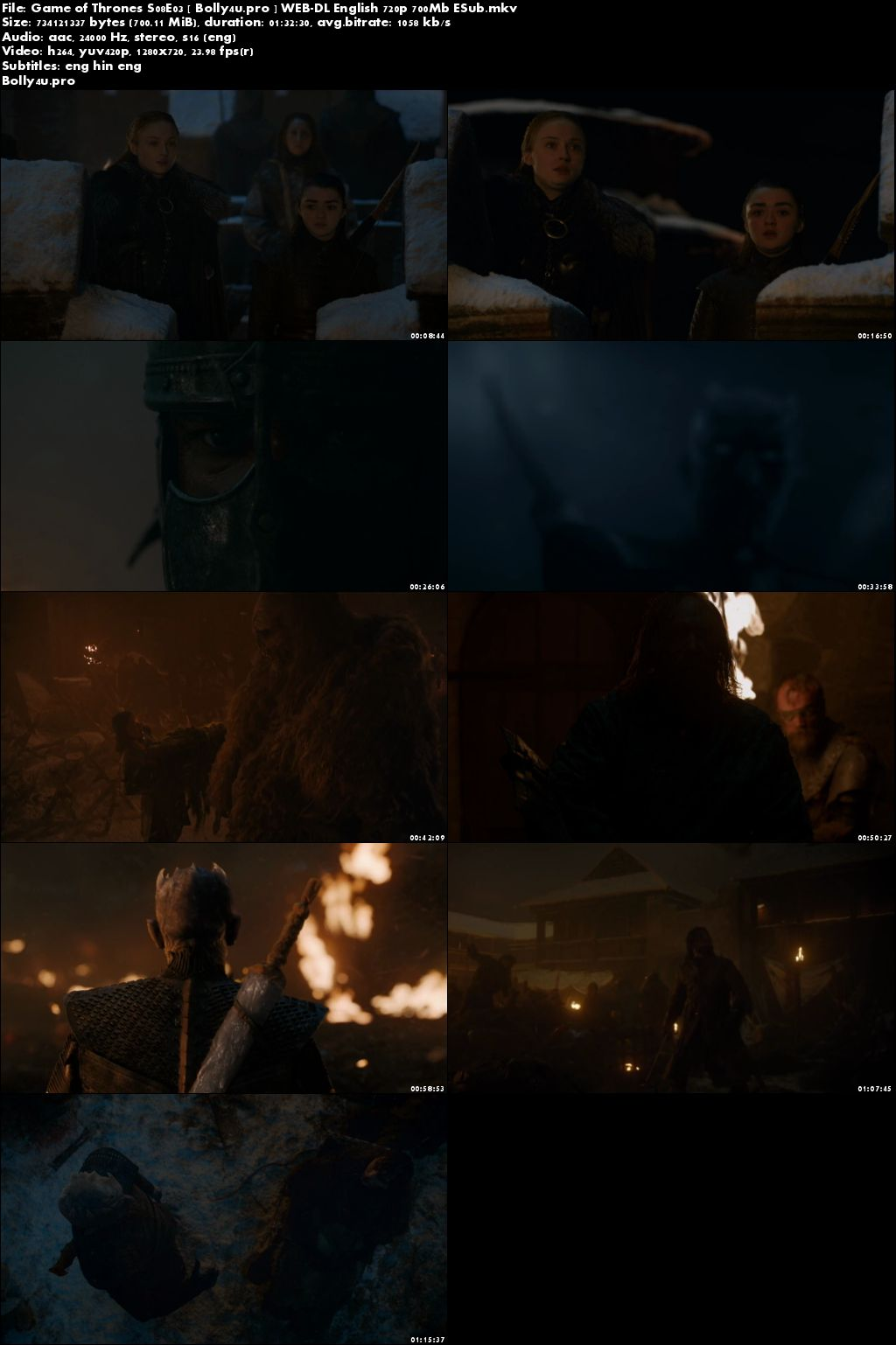Game of Thrones S08E03 WEB-DL 700MB English 720p Hindi Sub Download