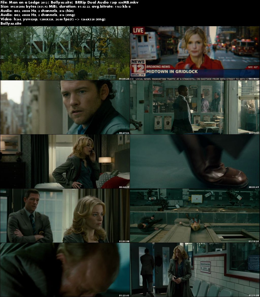 Man on a Ledge 2012 BluRay 350MB Hindi Dual Audio 480p Download
