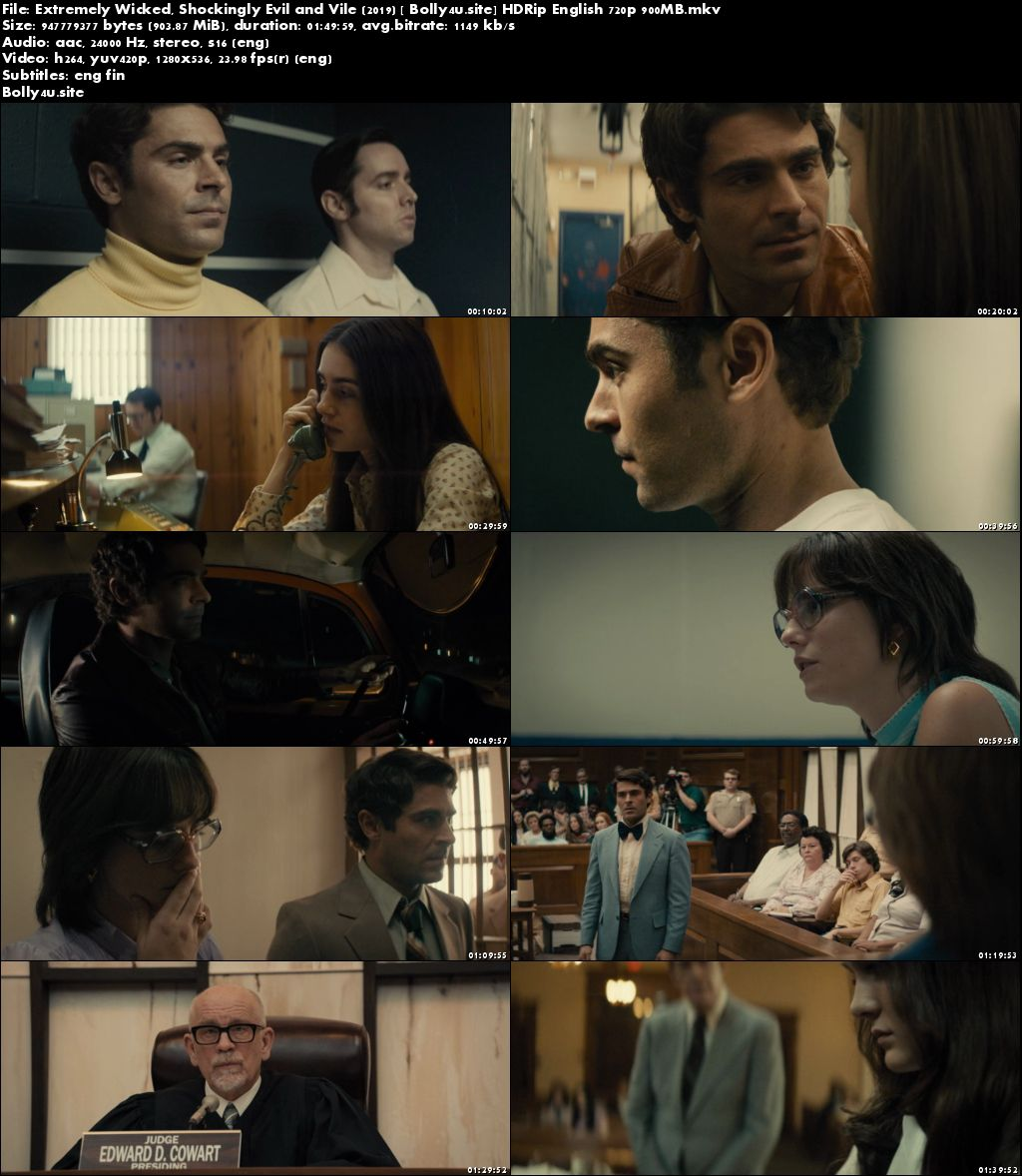 Extremely Wicked Shockingly Evil and Vile 2019 HDRip 900MB English 720p ESub Download