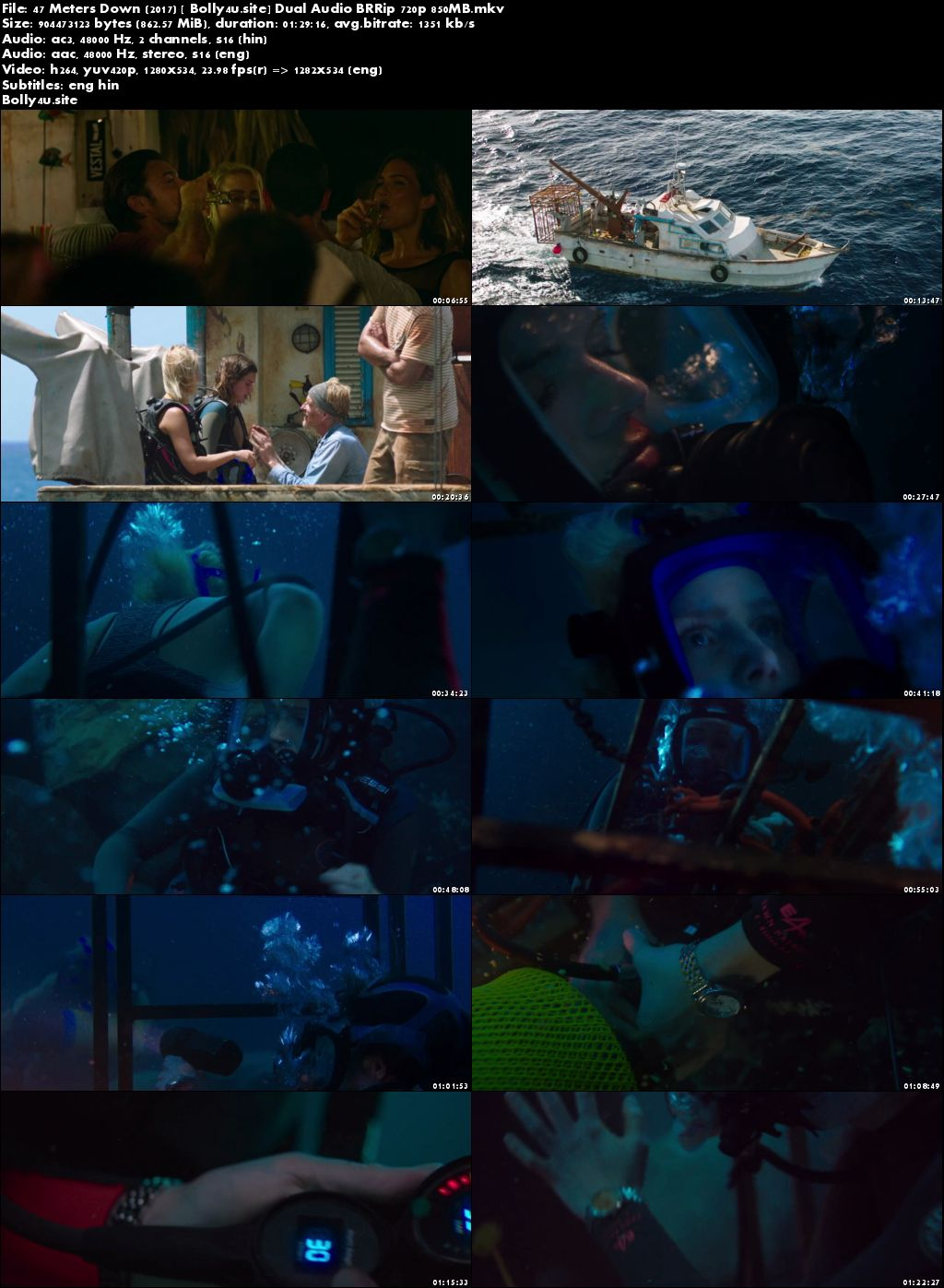 47 Meters Down 2017 BRRip 850Mb Hindi Dual Audio 720p Download