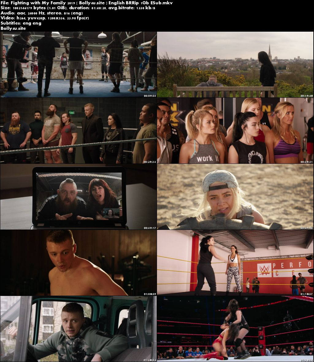 Fighting with My Family 2019 BRRip 300MB English 480p ESub Download