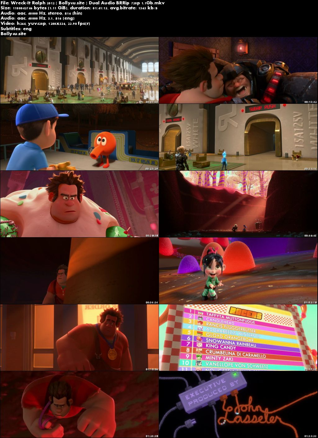 Wreck-It Ralph 2012 BRRip Hindi Dual Audio 720p ESub Download
